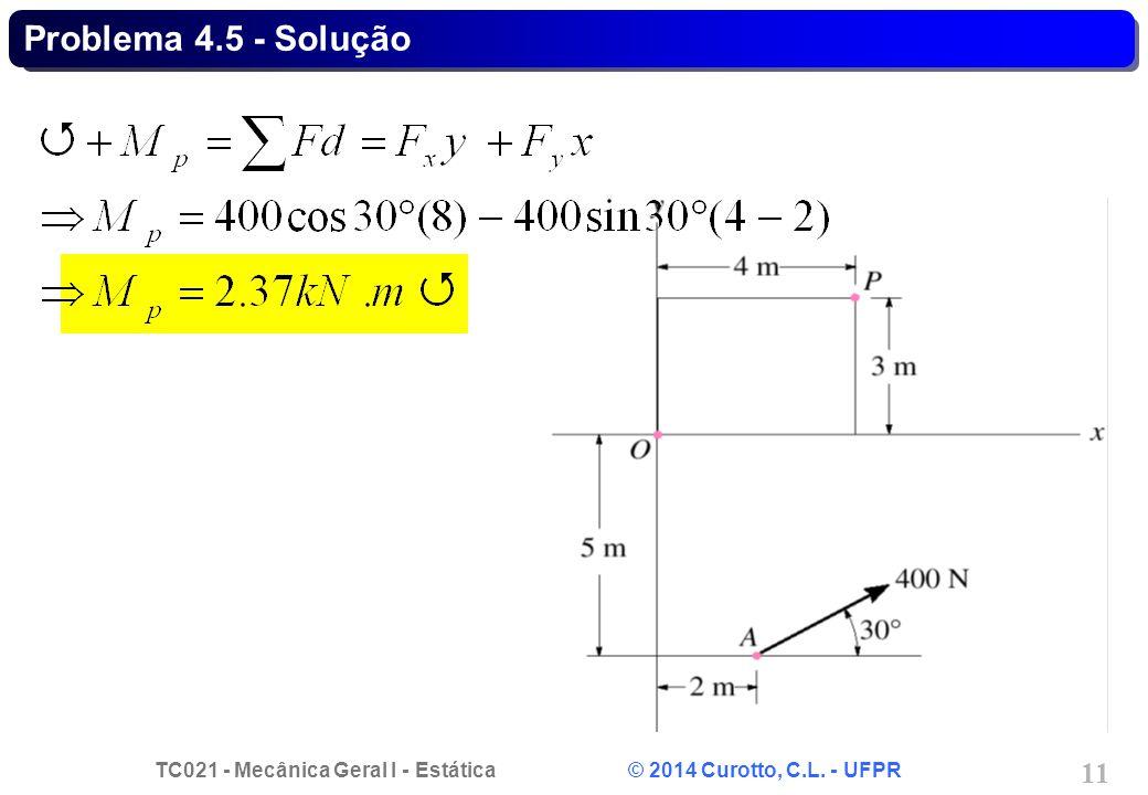 TC021 - Mecânica Geral I - Estática © 2014 Curotto, C.L. - UFPR 11 Problema 4.5 - Solução
