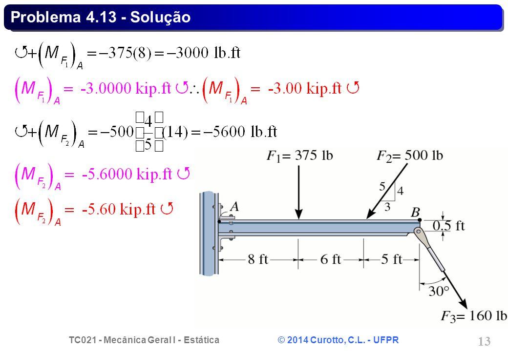 TC021 - Mecânica Geral I - Estática © 2014 Curotto, C.L. - UFPR 13 Problema 4.13 - Solução
