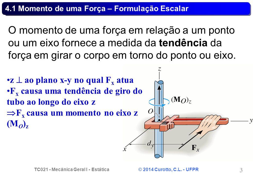 TC021 - Mecânica Geral I - Estática © 2014 Curotto, C.L. - UFPR 14 Problema 4.13 - Solução
