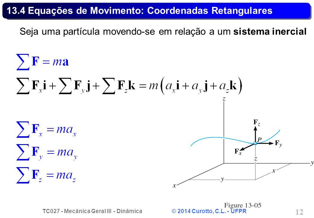 TC027 - Mecânica Geral III - Dinâmica © 2014 Curotto, C.L. - UFPR 12 13.4 Equações de Movimento: Coordenadas Retangulares Seja uma partícula movendo-s