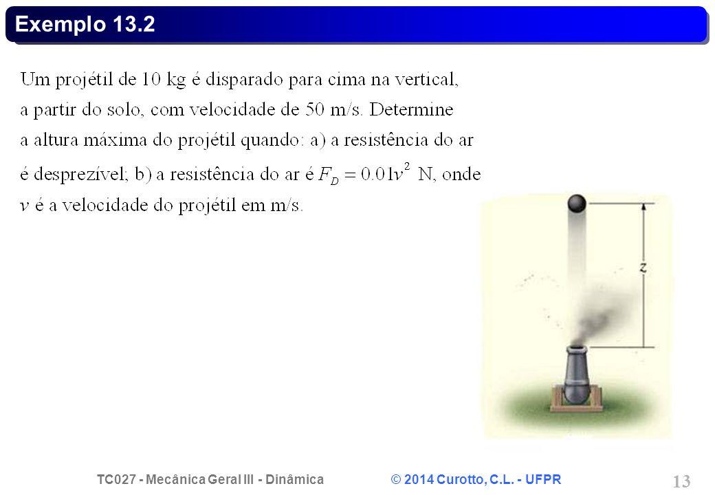 TC027 - Mecânica Geral III - Dinâmica © 2014 Curotto, C.L. - UFPR 13 Exemplo 13.2