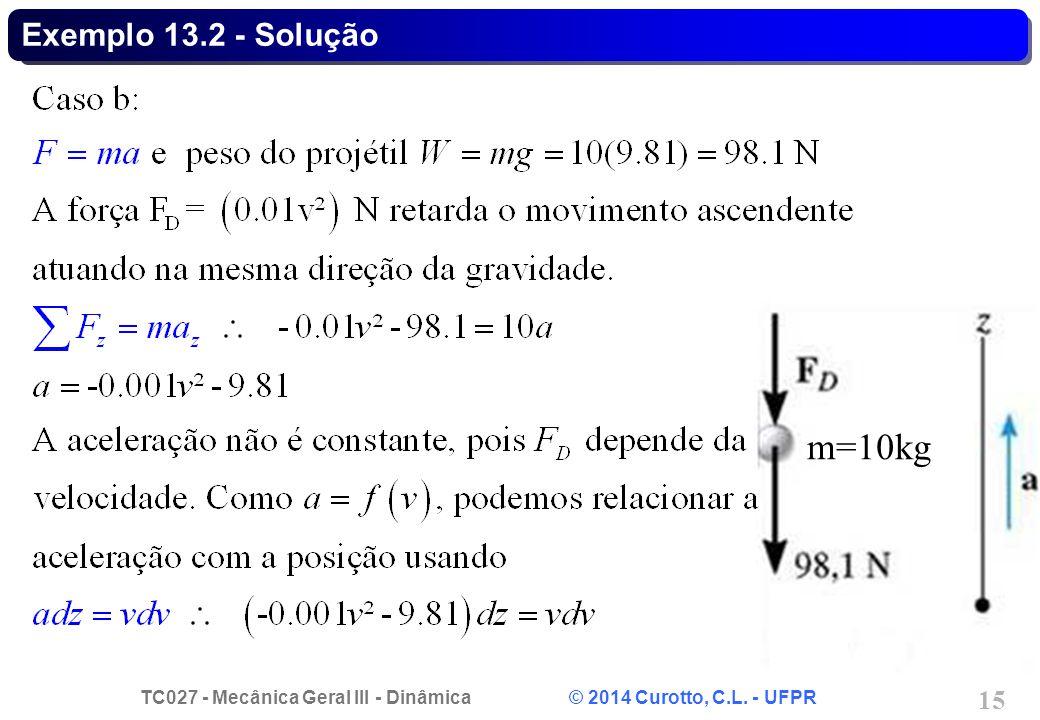 TC027 - Mecânica Geral III - Dinâmica © 2014 Curotto, C.L. - UFPR 15 Exemplo 13.2 - Solução m=10kg