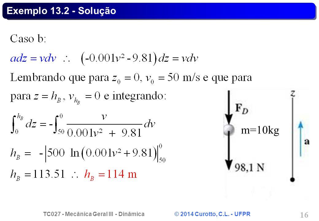 TC027 - Mecânica Geral III - Dinâmica © 2014 Curotto, C.L. - UFPR 16 Exemplo 13.2 - Solução m=10kg