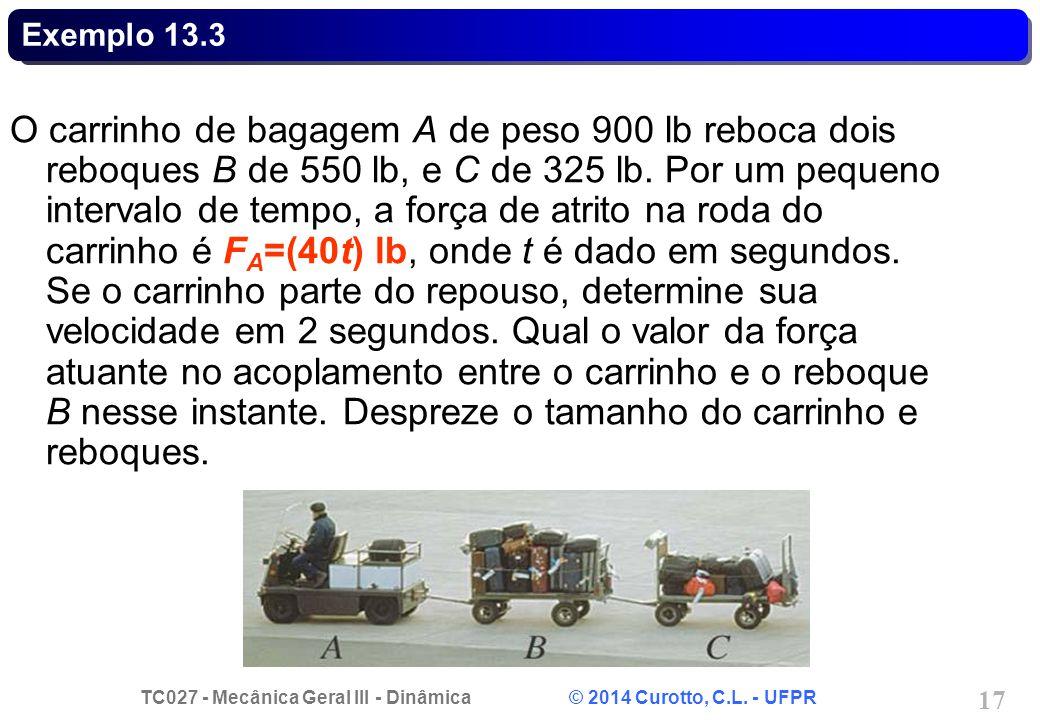TC027 - Mecânica Geral III - Dinâmica © 2014 Curotto, C.L. - UFPR 17 Exemplo 13.3 O carrinho de bagagem A de peso 900 lb reboca dois reboques B de 550