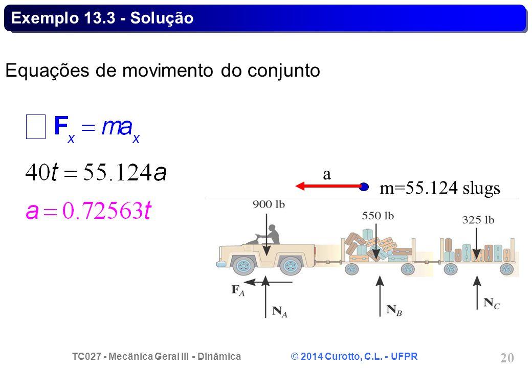 TC027 - Mecânica Geral III - Dinâmica © 2014 Curotto, C.L. - UFPR 20 Exemplo 13.3 - Solução Equações de movimento do conjunto m=55.124 slugs a