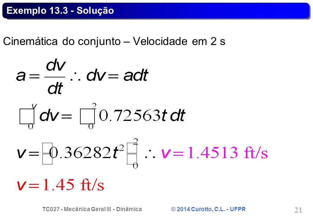 TC027 - Mecânica Geral III - Dinâmica © 2014 Curotto, C.L. - UFPR 21 Exemplo 13.3 - Solução Cinemática do conjunto – Velocidade em 2 s