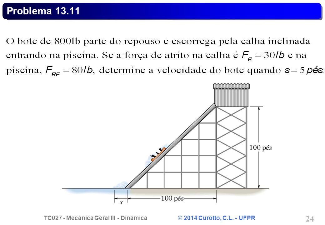 TC027 - Mecânica Geral III - Dinâmica © 2014 Curotto, C.L. - UFPR 24 Problema 13.11