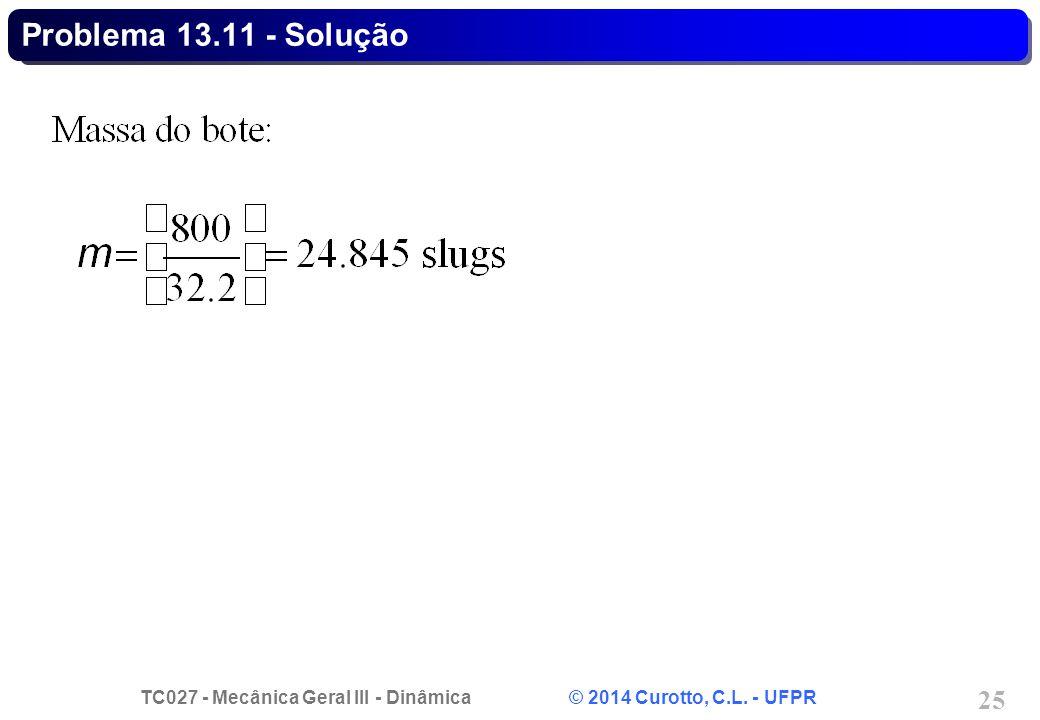 TC027 - Mecânica Geral III - Dinâmica © 2014 Curotto, C.L. - UFPR 25 Problema 13.11 - Solução