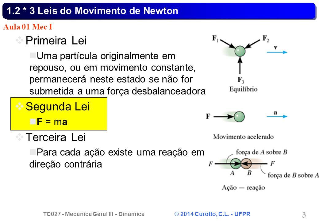 TC027 - Mecânica Geral III - Dinâmica © 2014 Curotto, C.L. - UFPR 3 1.2 * 3 Leis do Movimento de Newton Primeira Lei Uma partícula originalmente em re