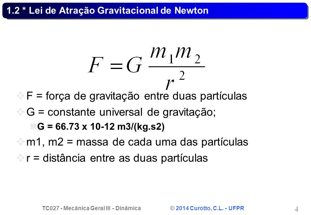TC027 - Mecânica Geral III - Dinâmica © 2014 Curotto, C.L. - UFPR 4 1.2 * Lei de Atração Gravitacional de Newton F = força de gravitação entre duas pa