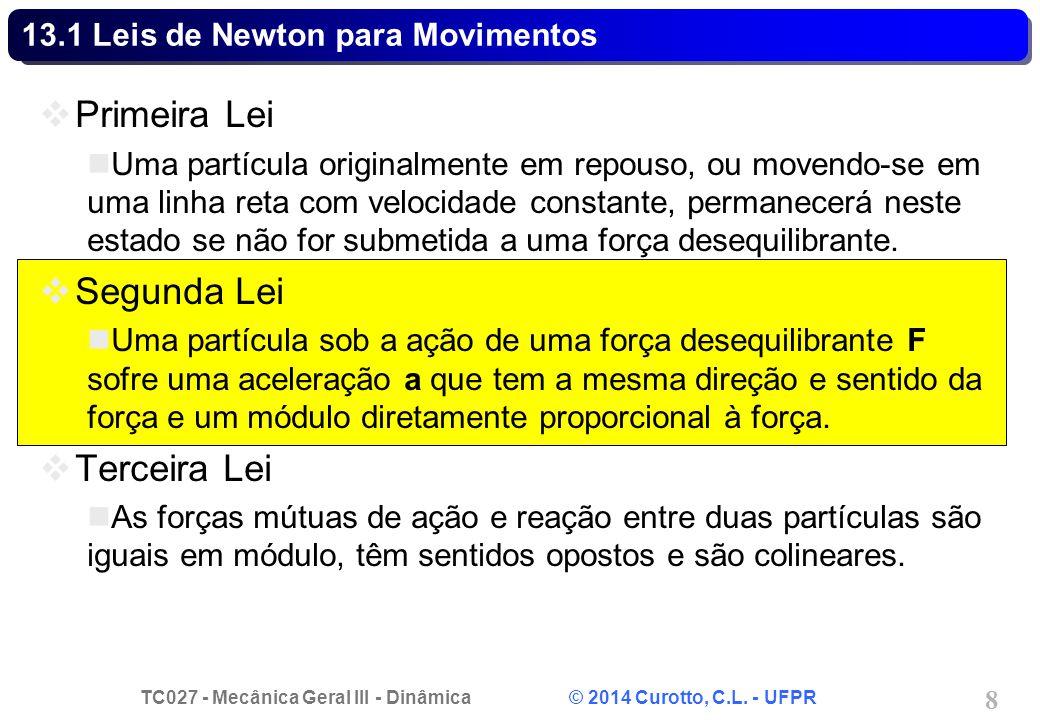 TC027 - Mecânica Geral III - Dinâmica © 2014 Curotto, C.L. - UFPR 8 13.1 Leis de Newton para Movimentos Primeira Lei Uma partícula originalmente em re