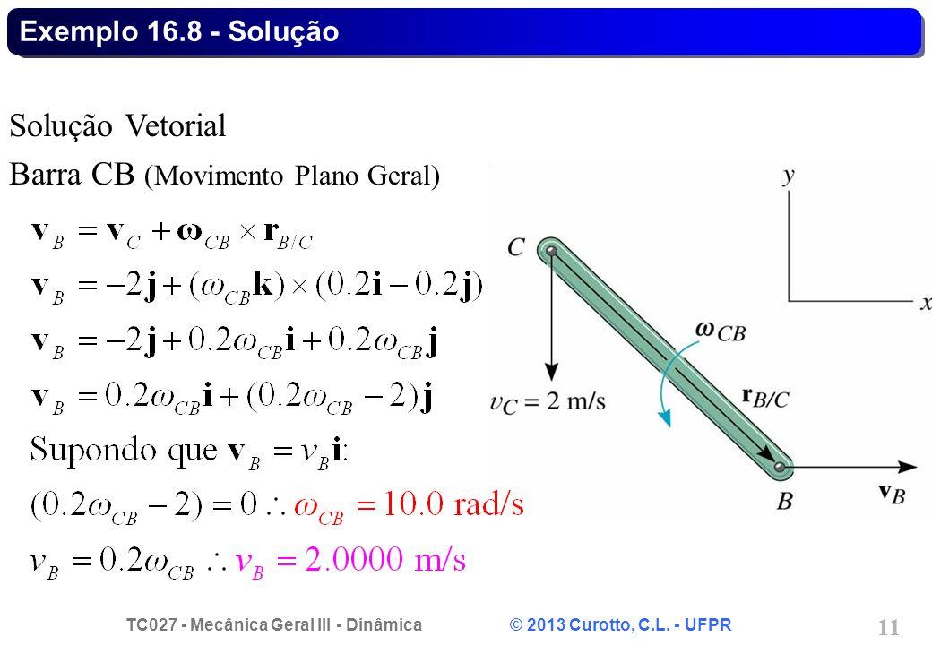 TC027 - Mecânica Geral III - Dinâmica © 2013 Curotto, C.L. - UFPR 11 Exemplo 16.8 - Solução Solução Vetorial Barra CB (Movimento Plano Geral)