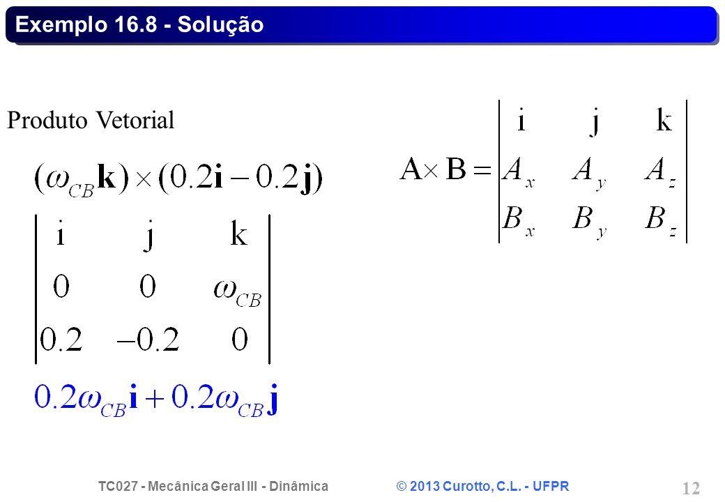 TC027 - Mecânica Geral III - Dinâmica © 2013 Curotto, C.L. - UFPR 12 Exemplo 16.8 - Solução Produto Vetorial