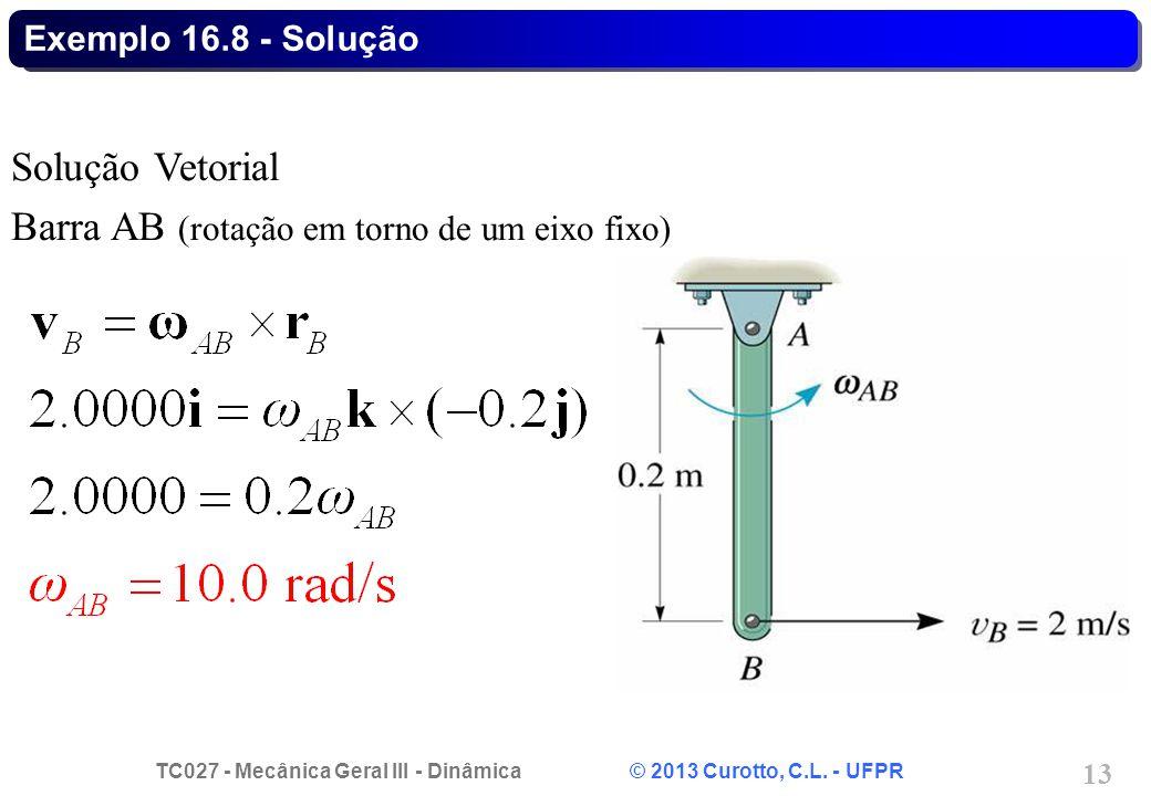 TC027 - Mecânica Geral III - Dinâmica © 2013 Curotto, C.L. - UFPR 13 Exemplo 16.8 - Solução Solução Vetorial Barra AB (rotação em torno de um eixo fix