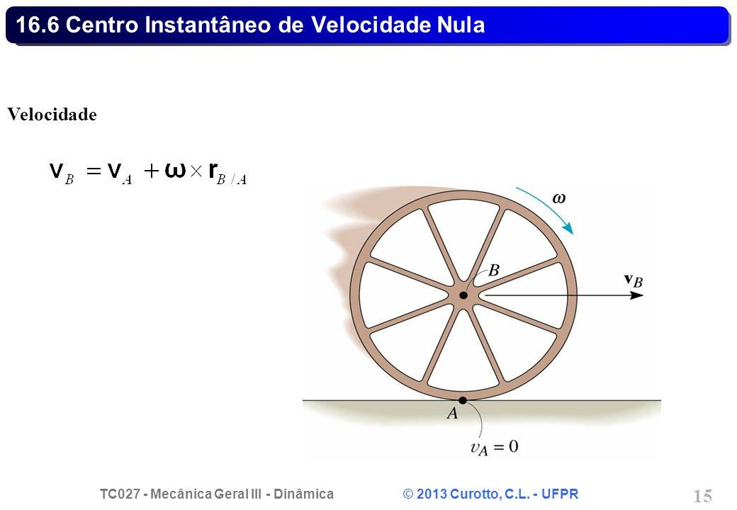 TC027 - Mecânica Geral III - Dinâmica © 2013 Curotto, C.L. - UFPR 15 16.6 Centro Instantâneo de Velocidade Nula Velocidade