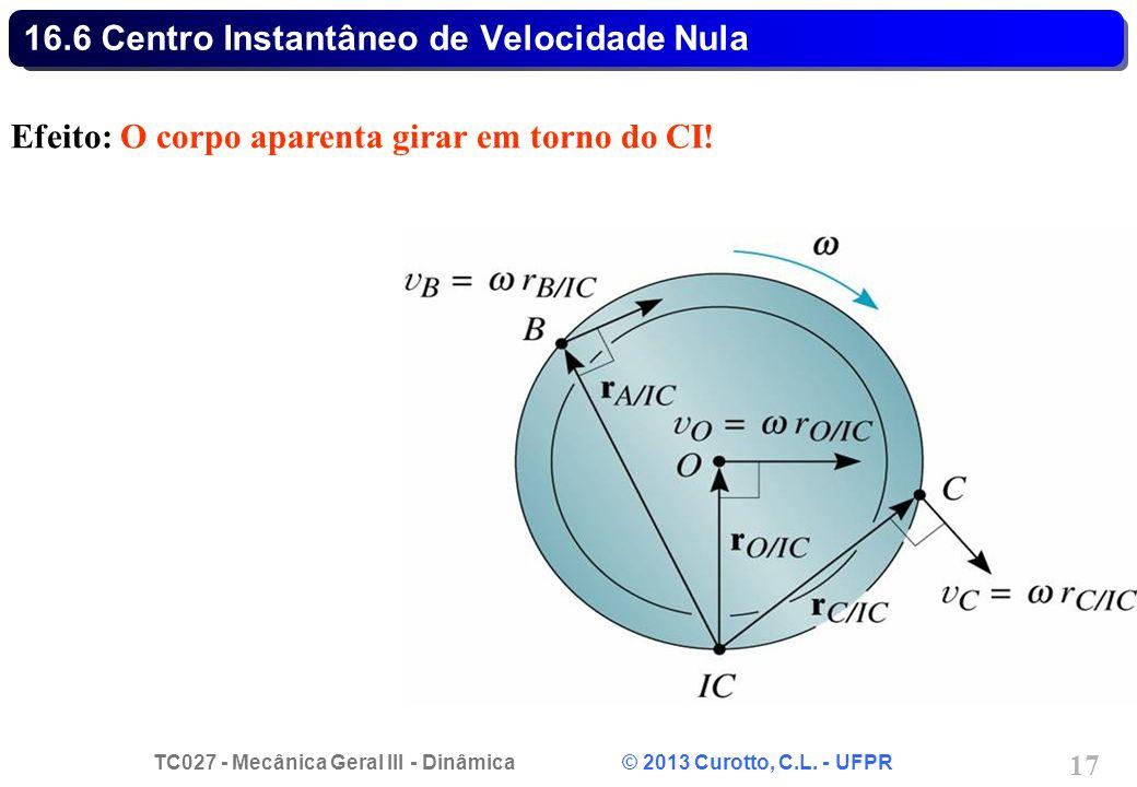 TC027 - Mecânica Geral III - Dinâmica © 2013 Curotto, C.L. - UFPR 17 16.6 Centro Instantâneo de Velocidade Nula Efeito: O corpo aparenta girar em torn