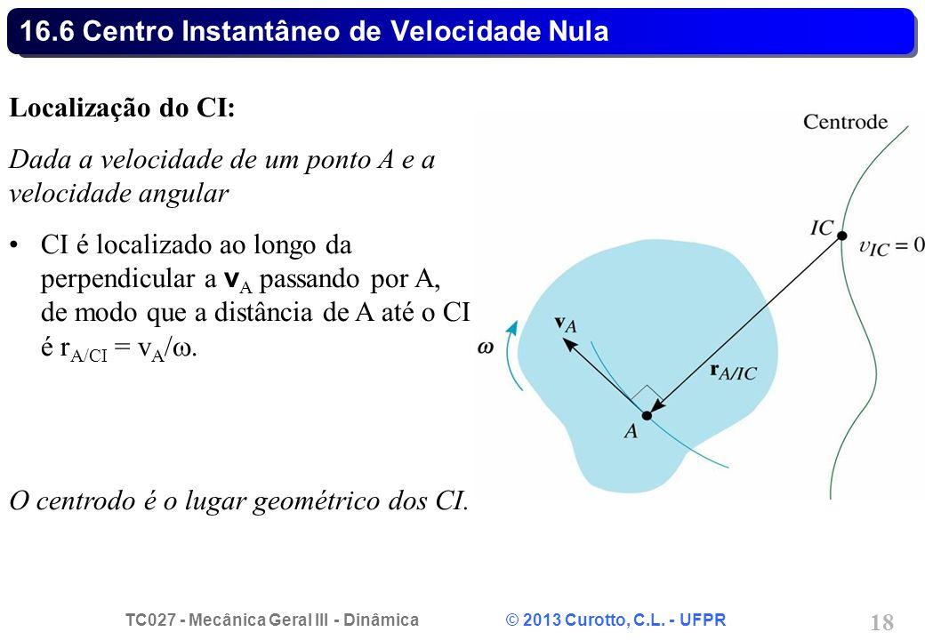 TC027 - Mecânica Geral III - Dinâmica © 2013 Curotto, C.L. - UFPR 18 16.6 Centro Instantâneo de Velocidade Nula Localização do CI: Dada a velocidade d