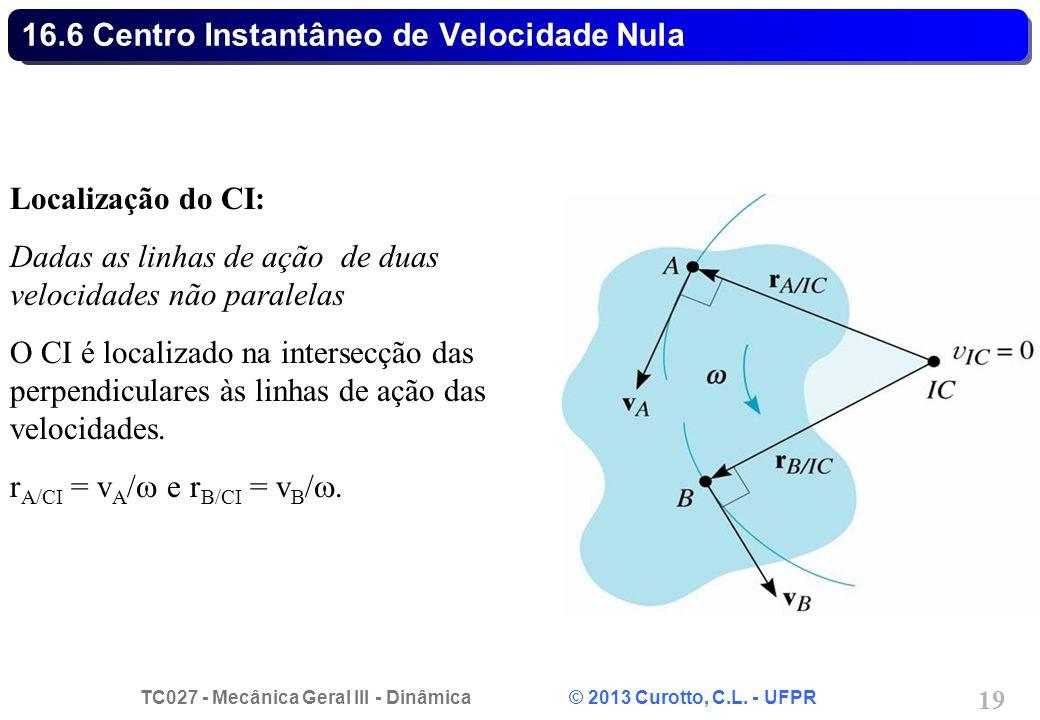 TC027 - Mecânica Geral III - Dinâmica © 2013 Curotto, C.L. - UFPR 19 16.6 Centro Instantâneo de Velocidade Nula Localização do CI: Dadas as linhas de