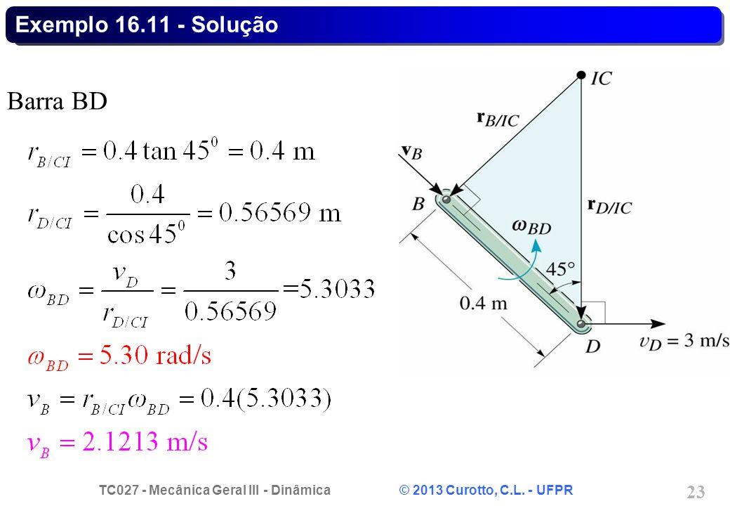 TC027 - Mecânica Geral III - Dinâmica © 2013 Curotto, C.L. - UFPR 23 Exemplo 16.11 - Solução Barra BD