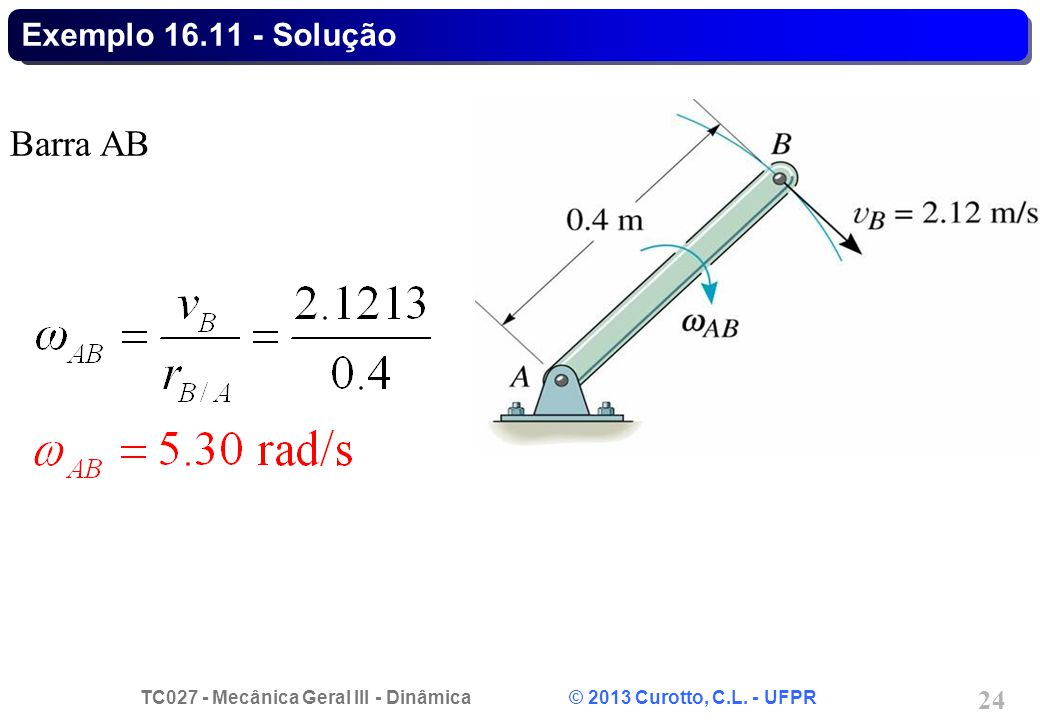 TC027 - Mecânica Geral III - Dinâmica © 2013 Curotto, C.L. - UFPR 24 Exemplo 16.11 - Solução Barra AB