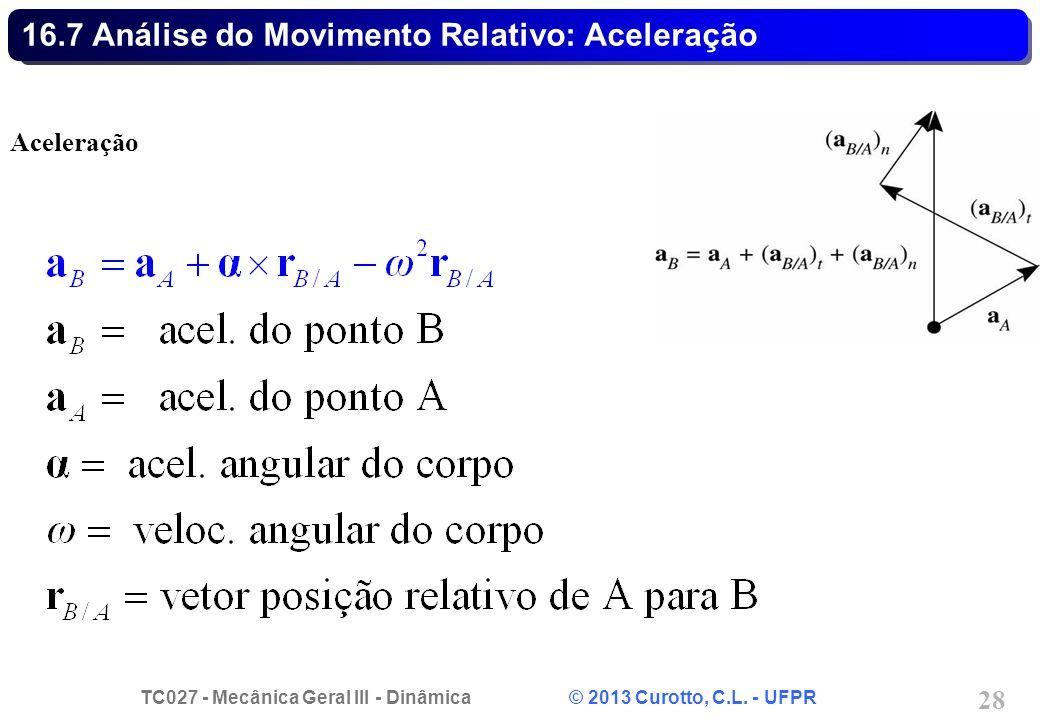 TC027 - Mecânica Geral III - Dinâmica © 2013 Curotto, C.L. - UFPR 28 16.7 Análise do Movimento Relativo: Aceleração Aceleração