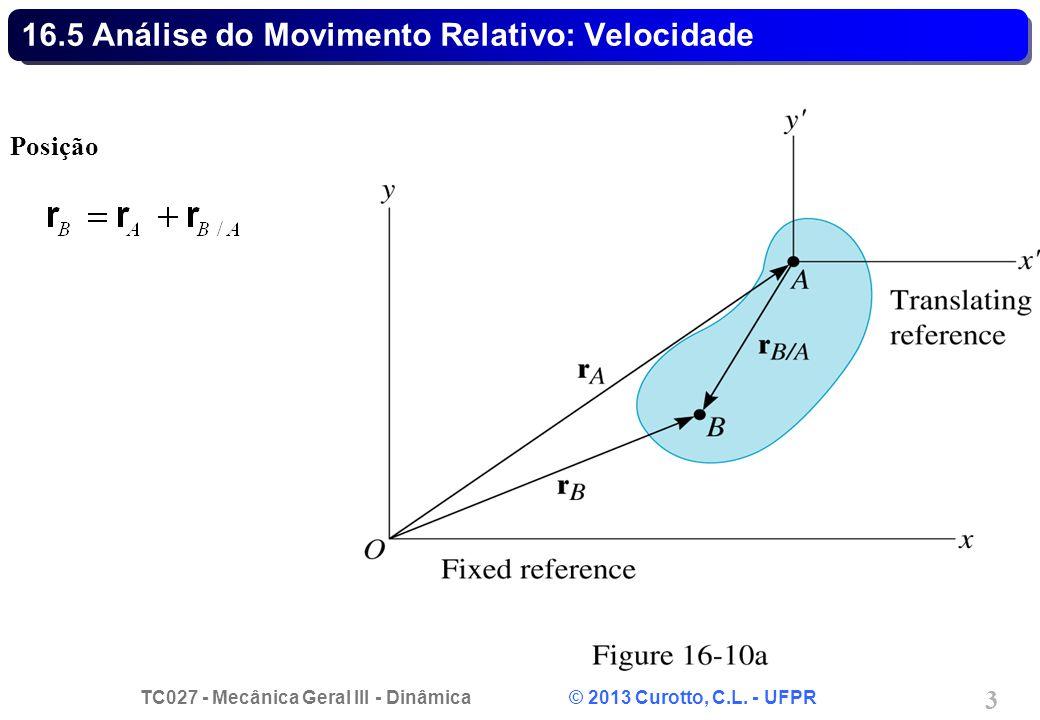 TC027 - Mecânica Geral III - Dinâmica © 2013 Curotto, C.L. - UFPR 3 16.5 Análise do Movimento Relativo: Velocidade Posição