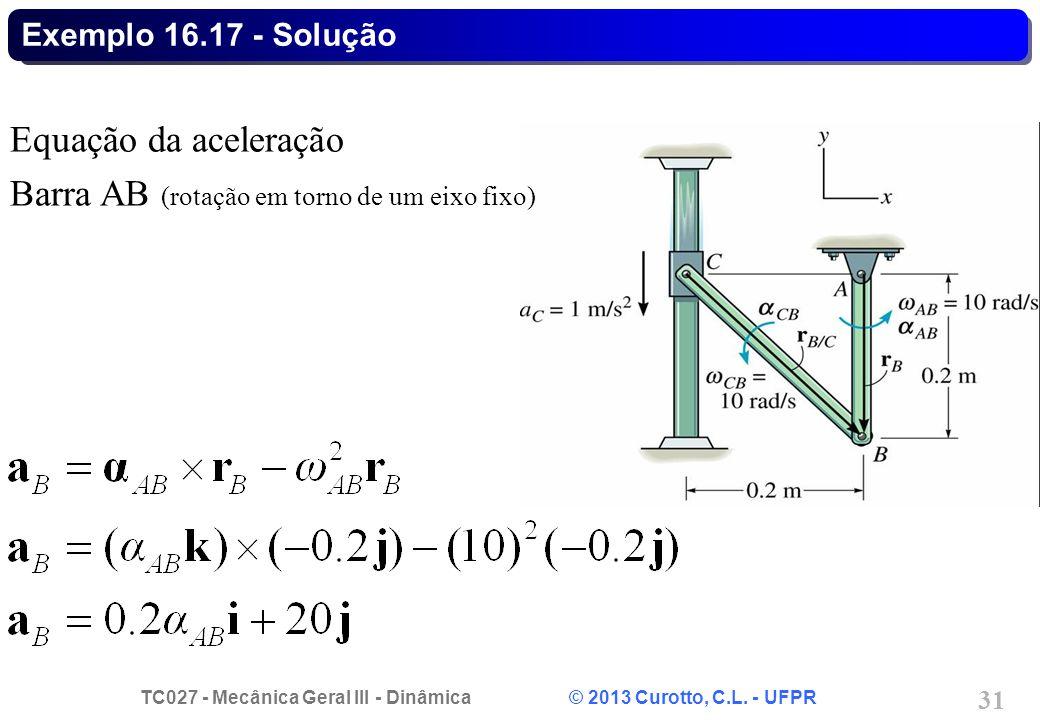 TC027 - Mecânica Geral III - Dinâmica © 2013 Curotto, C.L. - UFPR 31 Exemplo 16.17 - Solução Equação da aceleração Barra AB (rotação em torno de um ei