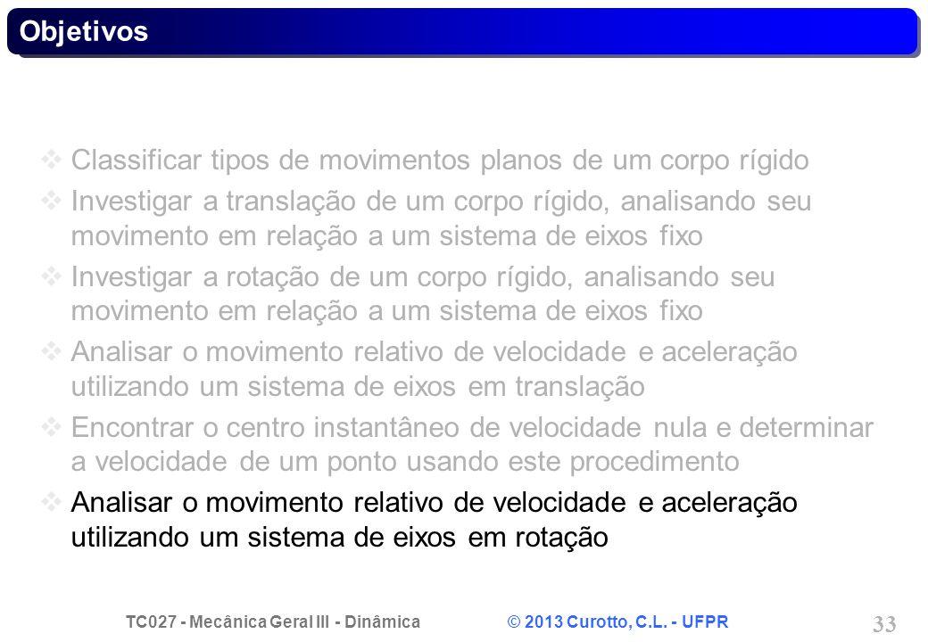 TC027 - Mecânica Geral III - Dinâmica © 2013 Curotto, C.L. - UFPR 33 Objetivos Classificar tipos de movimentos planos de um corpo rígido Investigar a