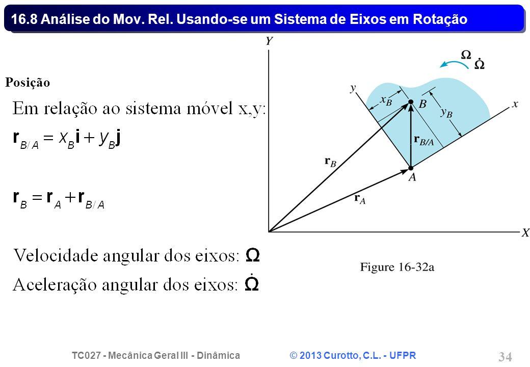 TC027 - Mecânica Geral III - Dinâmica © 2013 Curotto, C.L. - UFPR 34 16.8 Análise do Mov. Rel. Usando-se um Sistema de Eixos em Rotação Posição
