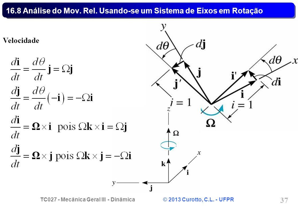 TC027 - Mecânica Geral III - Dinâmica © 2013 Curotto, C.L. - UFPR 37 16.8 Análise do Mov. Rel. Usando-se um Sistema de Eixos em Rotação Velocidade