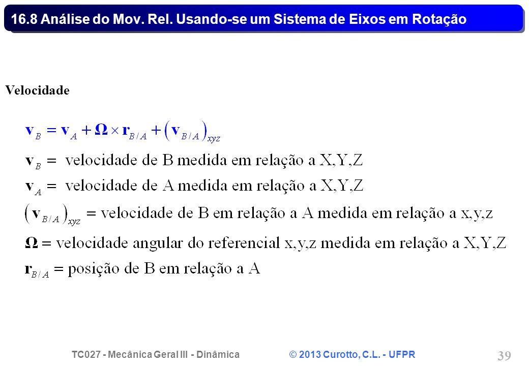 TC027 - Mecânica Geral III - Dinâmica © 2013 Curotto, C.L. - UFPR 39 16.8 Análise do Mov. Rel. Usando-se um Sistema de Eixos em Rotação Velocidade