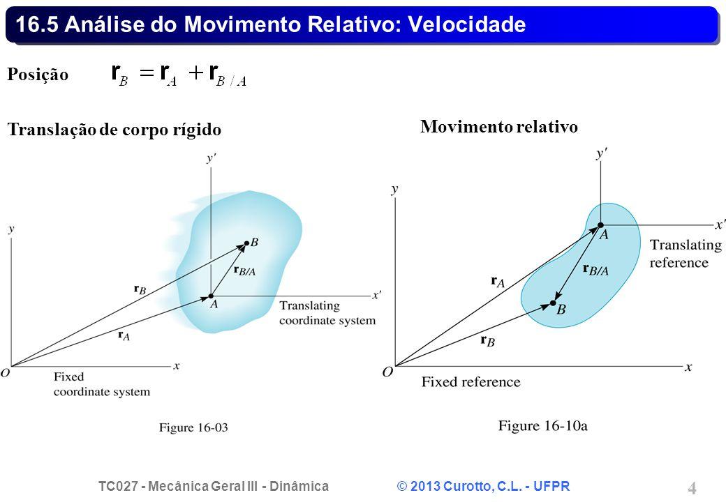 TC027 - Mecânica Geral III - Dinâmica © 2013 Curotto, C.L. - UFPR 4 16.5 Análise do Movimento Relativo: Velocidade Posição Translação de corpo rígido