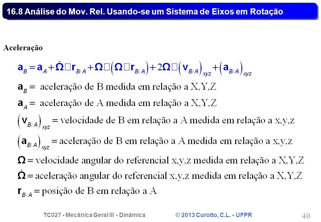 TC027 - Mecânica Geral III - Dinâmica © 2013 Curotto, C.L. - UFPR 40 16.8 Análise do Mov. Rel. Usando-se um Sistema de Eixos em Rotação Aceleração