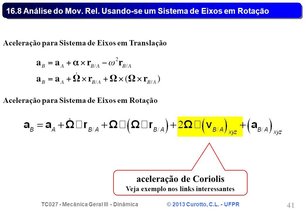 TC027 - Mecânica Geral III - Dinâmica © 2013 Curotto, C.L. - UFPR 41 16.8 Análise do Mov. Rel. Usando-se um Sistema de Eixos em Rotação Aceleração par