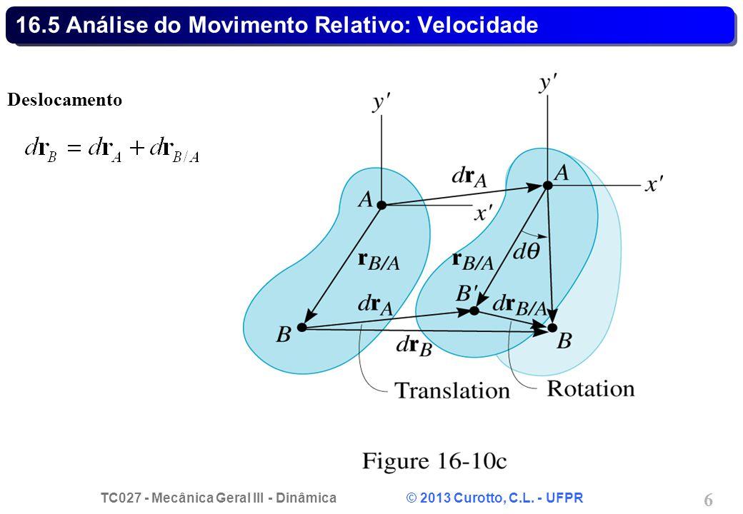 TC027 - Mecânica Geral III - Dinâmica © 2013 Curotto, C.L. - UFPR 6 16.5 Análise do Movimento Relativo: Velocidade Deslocamento