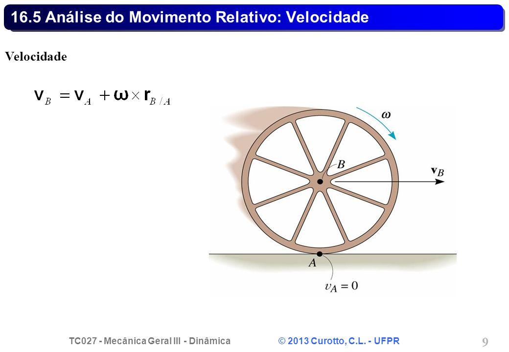 TC027 - Mecânica Geral III - Dinâmica © 2013 Curotto, C.L. - UFPR 9 16.5 Análise do Movimento Relativo: Velocidade Velocidade