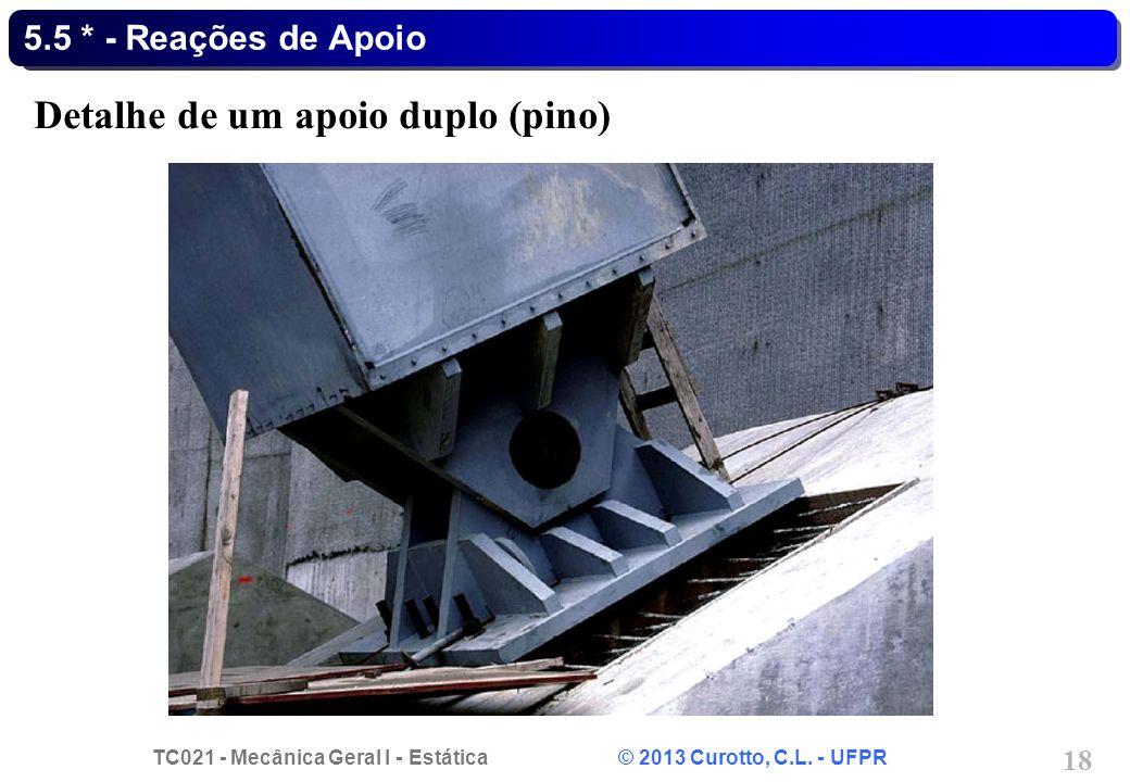 TC021 - Mecânica Geral I - Estática © 2013 Curotto, C.L. - UFPR 18 5.5 * - Reações de Apoio Detalhe de um apoio duplo (pino)