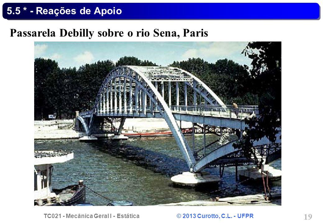 TC021 - Mecânica Geral I - Estática © 2013 Curotto, C.L. - UFPR 19 5.5 * - Reações de Apoio Passarela Debilly sobre o rio Sena, Paris