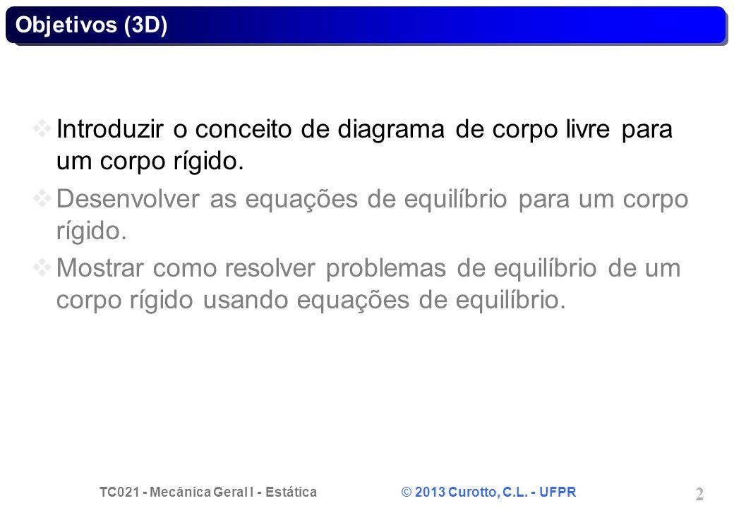 TC021 - Mecânica Geral I - Estática © 2013 Curotto, C.L. - UFPR 2 Objetivos (3D) Introduzir o conceito de diagrama de corpo livre para um corpo rígido