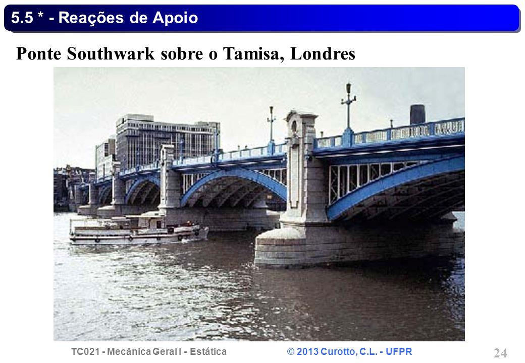 TC021 - Mecânica Geral I - Estática © 2013 Curotto, C.L. - UFPR 24 5.5 * - Reações de Apoio Ponte Southwark sobre o Tamisa, Londres