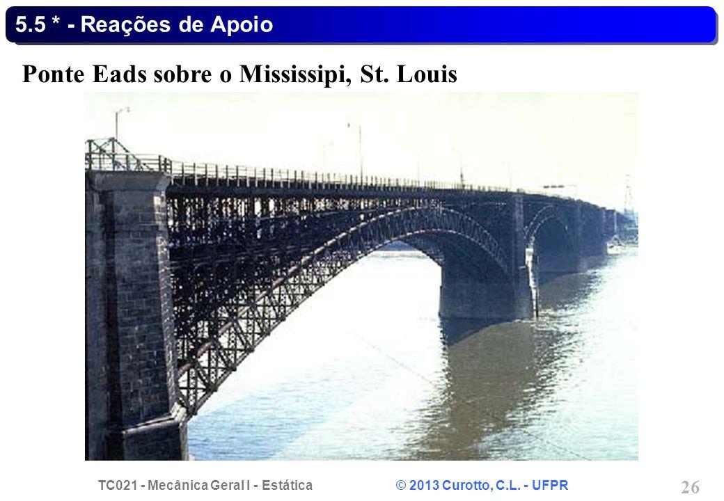 TC021 - Mecânica Geral I - Estática © 2013 Curotto, C.L. - UFPR 26 5.5 * - Reações de Apoio Ponte Eads sobre o Mississipi, St. Louis