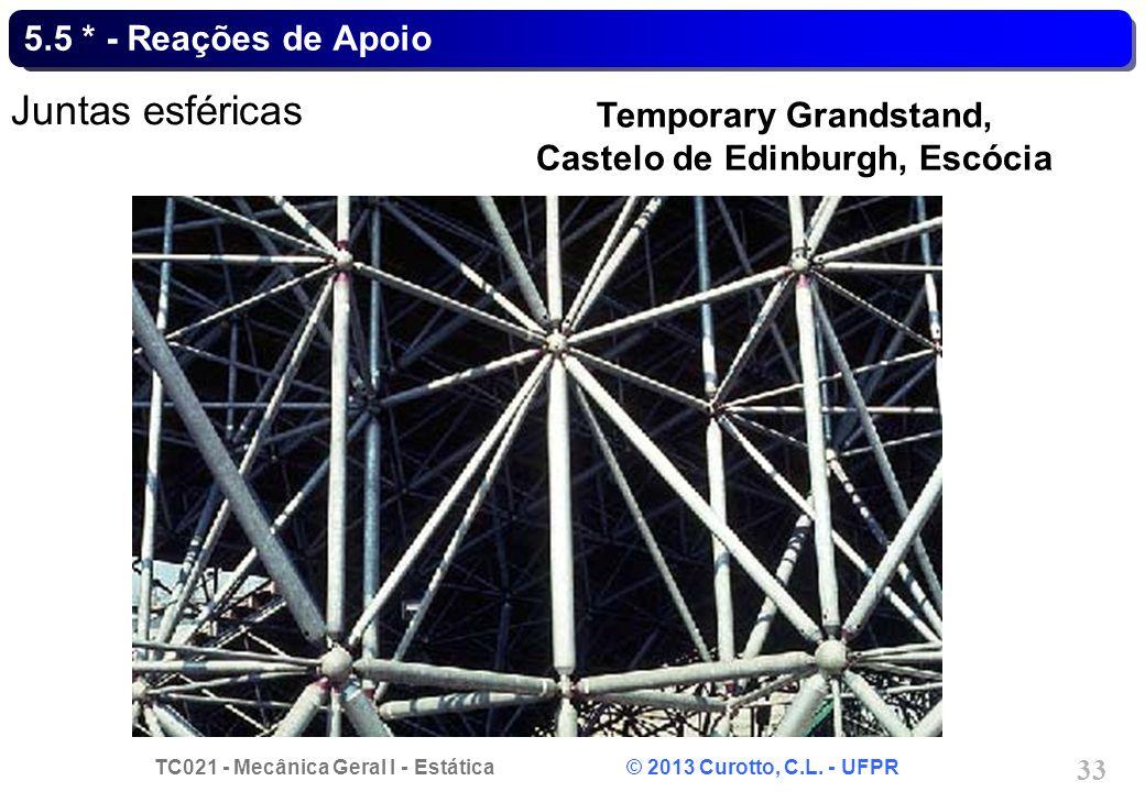TC021 - Mecânica Geral I - Estática © 2013 Curotto, C.L. - UFPR 33 5.5 * - Reações de Apoio Juntas esféricas Temporary Grandstand, Castelo de Edinburg