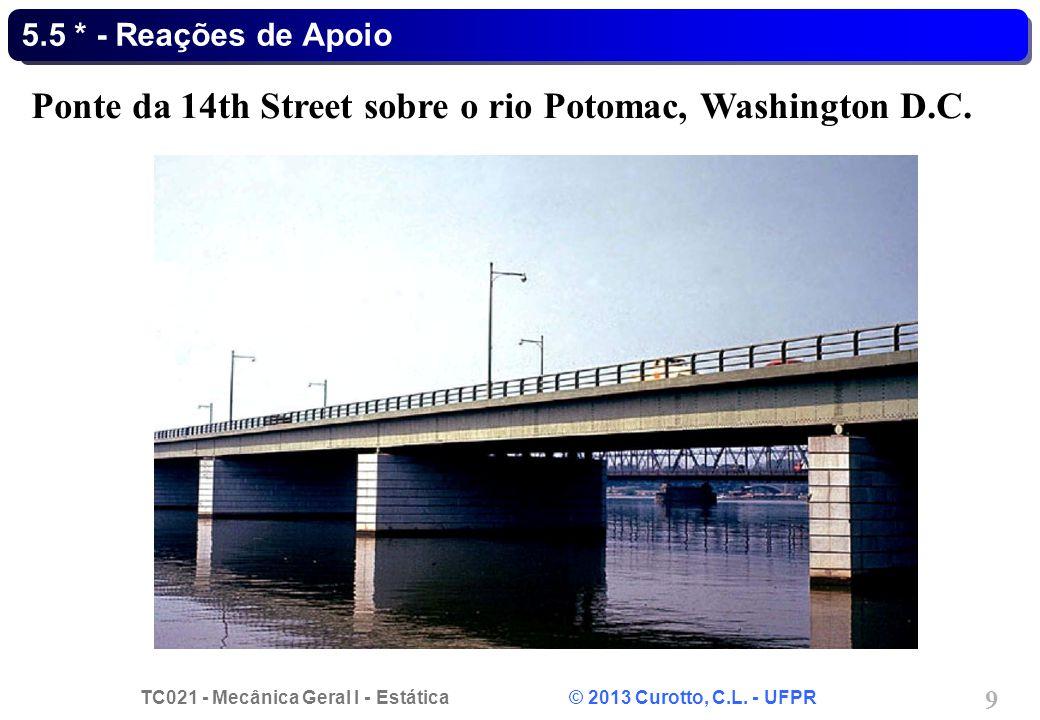 TC021 - Mecânica Geral I - Estática © 2013 Curotto, C.L. - UFPR 9 5.5 * - Reações de Apoio Ponte da 14th Street sobre o rio Potomac, Washington D.C.