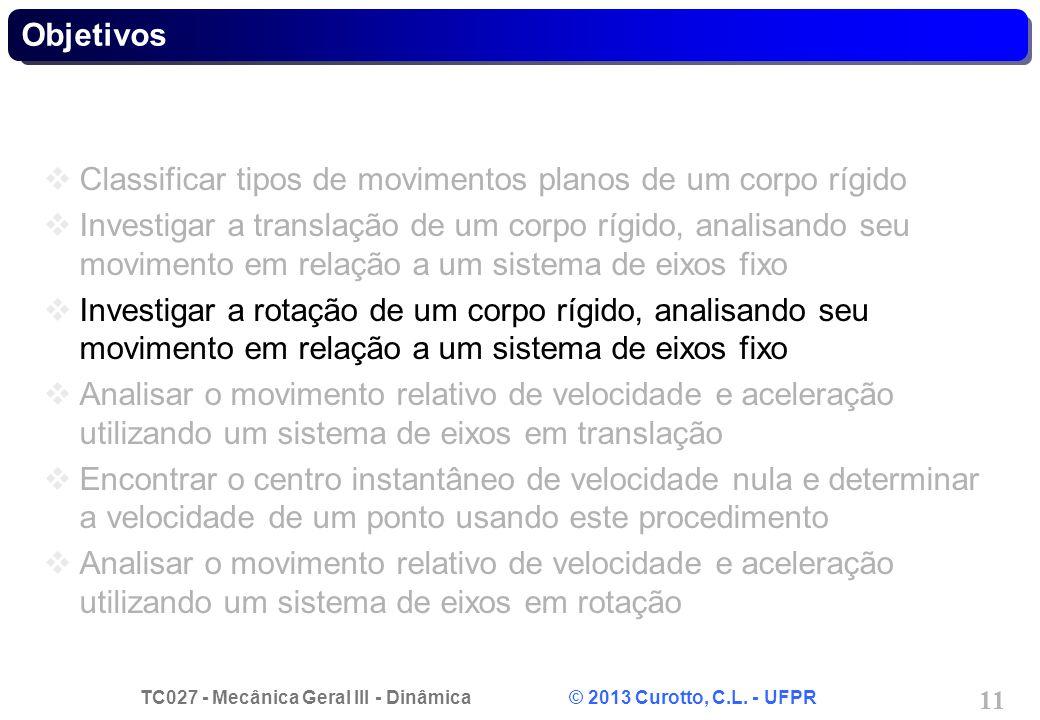 TC027 - Mecânica Geral III - Dinâmica © 2013 Curotto, C.L. - UFPR 11 Objetivos Classificar tipos de movimentos planos de um corpo rígido Investigar a