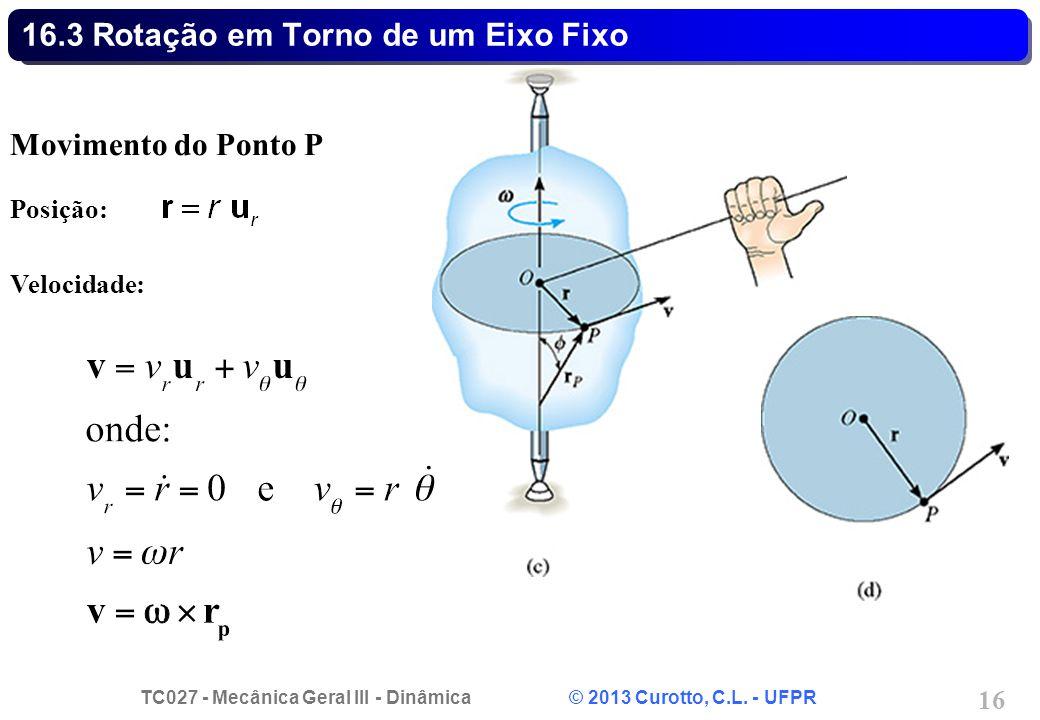 TC027 - Mecânica Geral III - Dinâmica © 2013 Curotto, C.L. - UFPR 16 16.3 Rotação em Torno de um Eixo Fixo Movimento do Ponto P Posição: Velocidade: