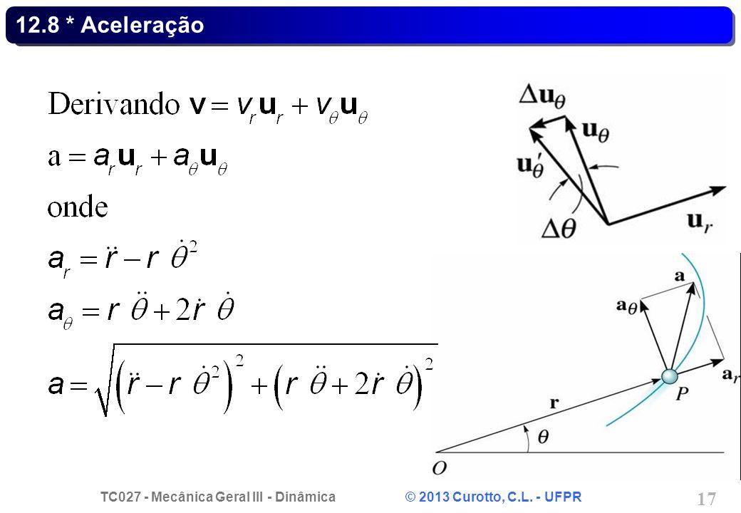 TC027 - Mecânica Geral III - Dinâmica © 2013 Curotto, C.L. - UFPR 17 12.8 * Aceleração