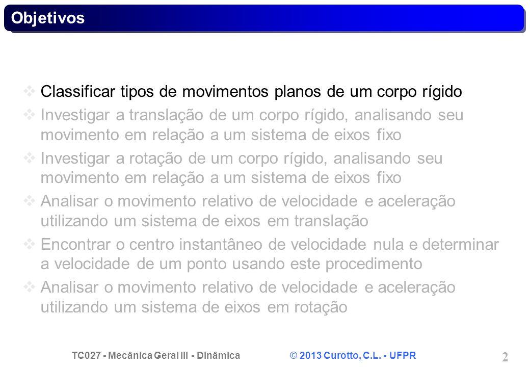 TC027 - Mecânica Geral III - Dinâmica © 2013 Curotto, C.L. - UFPR 2 Objetivos Classificar tipos de movimentos planos de um corpo rígido Investigar a t