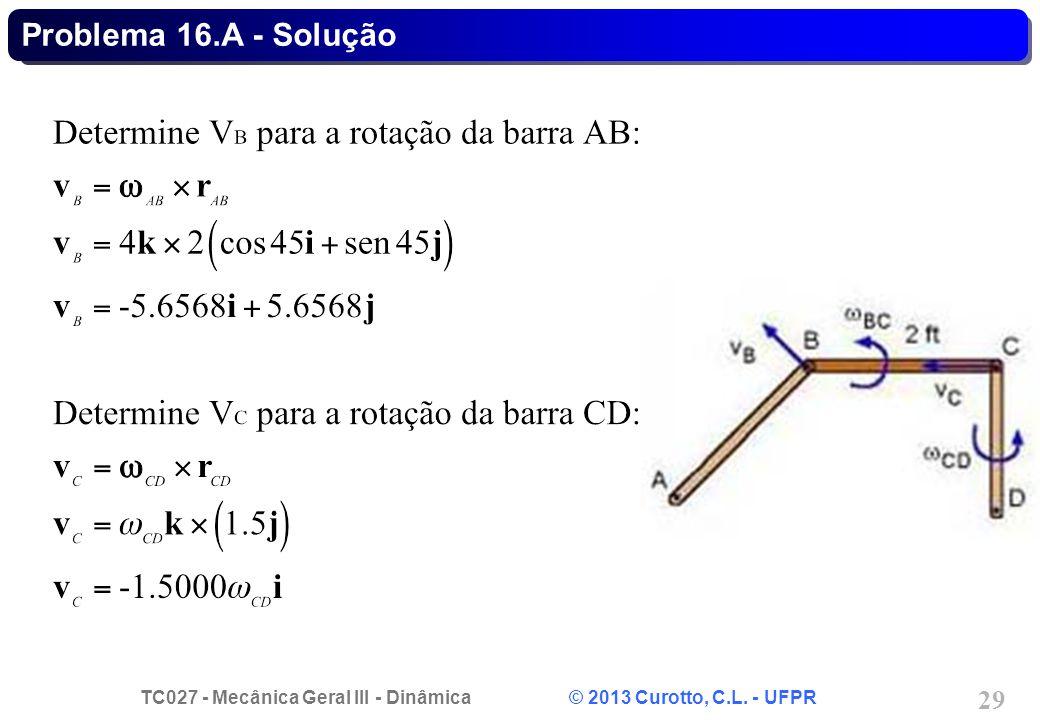 TC027 - Mecânica Geral III - Dinâmica © 2013 Curotto, C.L. - UFPR 29 Problema 16.A - Solução