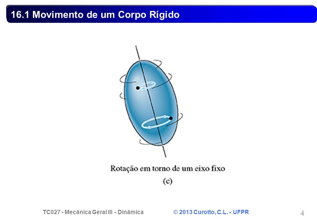 TC027 - Mecânica Geral III - Dinâmica © 2013 Curotto, C.L. - UFPR 4 16.1 Movimento de um Corpo Rígido