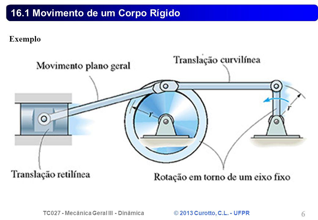 TC027 - Mecânica Geral III - Dinâmica © 2013 Curotto, C.L. - UFPR 6 16.1 Movimento de um Corpo Rígido Exemplo